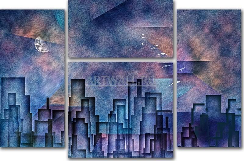 Модульная картина «Ночной город»Города<br>Модульная картина на натуральном холсте и деревянном подрамнике. Подвес в комплекте. Трехслойная надежная упаковка. Доставим в любую точку России. Вам осталось только повесить картину на стену!<br>