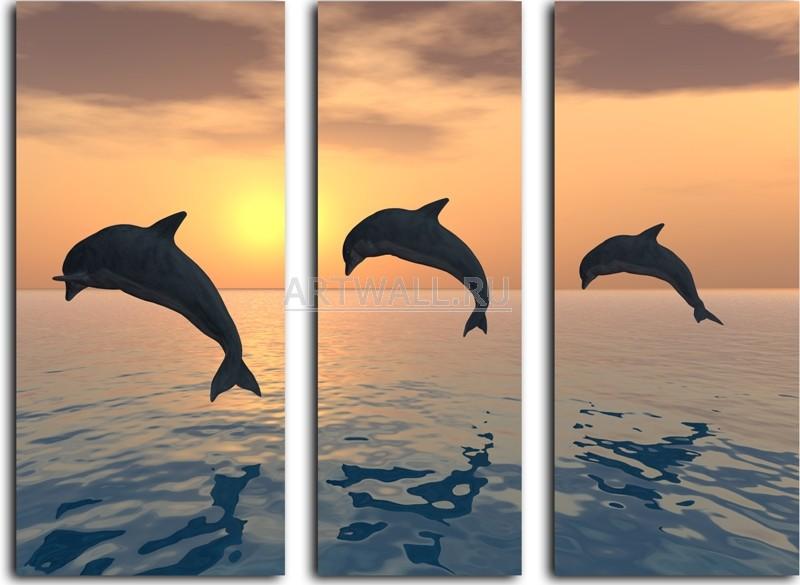 Модульная картина «Три дельфина»Море<br>Модульная картина на натуральном холсте и деревянном подрамнике. Подвес в комплекте. Трехслойная надежная упаковка. Доставим в любую точку России. Вам осталось только повесить картину на стену!<br>