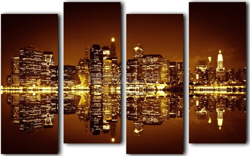 Модульная картина «Ночной Нью-Йорк»Города<br>Модульная картина на натуральном холсте и деревянном подрамнике. Подвес в комплекте. Трехслойная надежная упаковка. Доставим в любую точку России. Вам осталось только повесить картину на стену!<br>