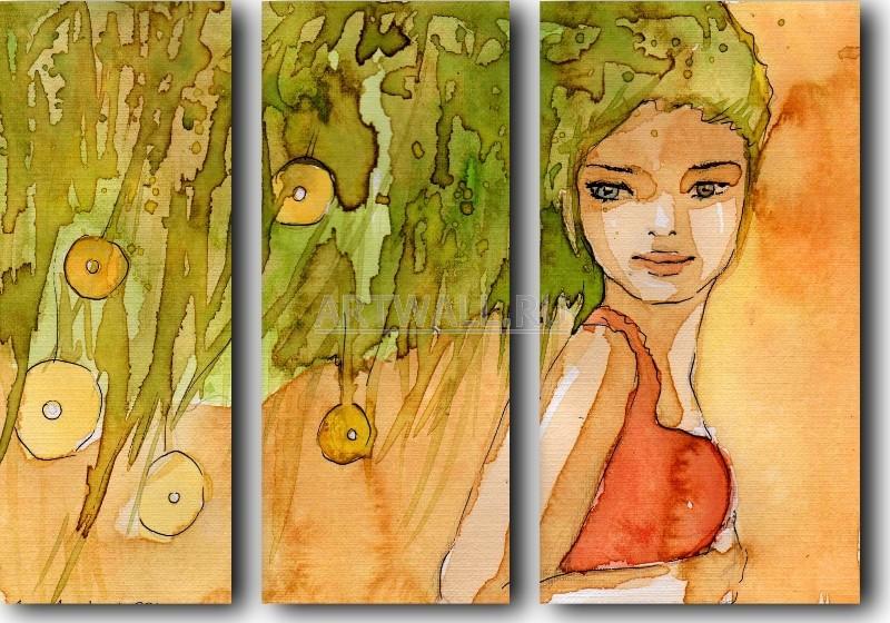 Модульная картина «Девушка с зелеными волосами»Абстракция<br>Модульная картина на натуральном холсте и деревянном подрамнике. Подвес в комплекте. Трехслойная надежная упаковка. Доставим в любую точку России. Вам осталось только повесить картину на стену!<br>