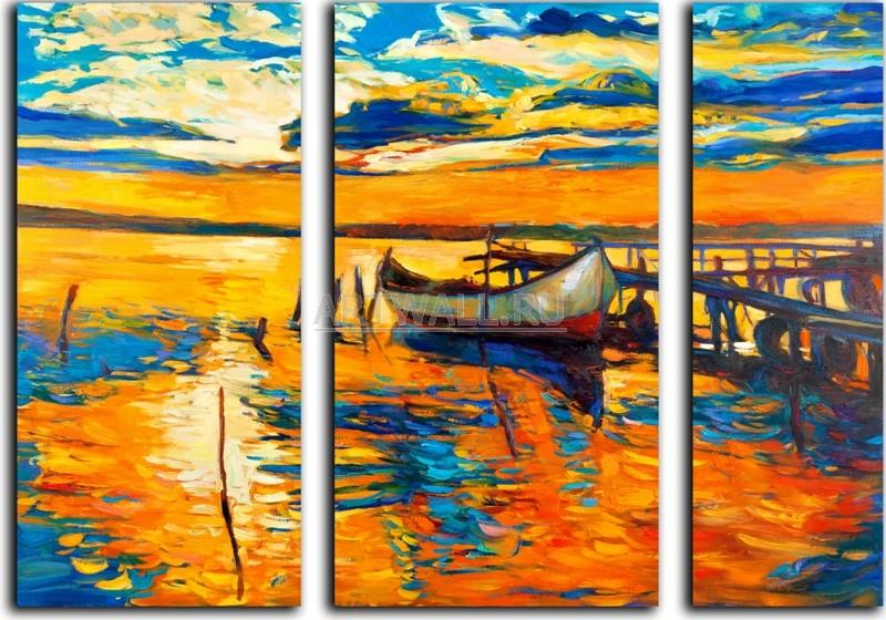 Модульная картина «Вечерний причал»Море<br>Модульная картина на натуральном холсте и деревянном подрамнике. Подвес в комплекте. Трехслойная надежная упаковка. Доставим в любую точку России. Вам осталось только повесить картину на стену!<br>