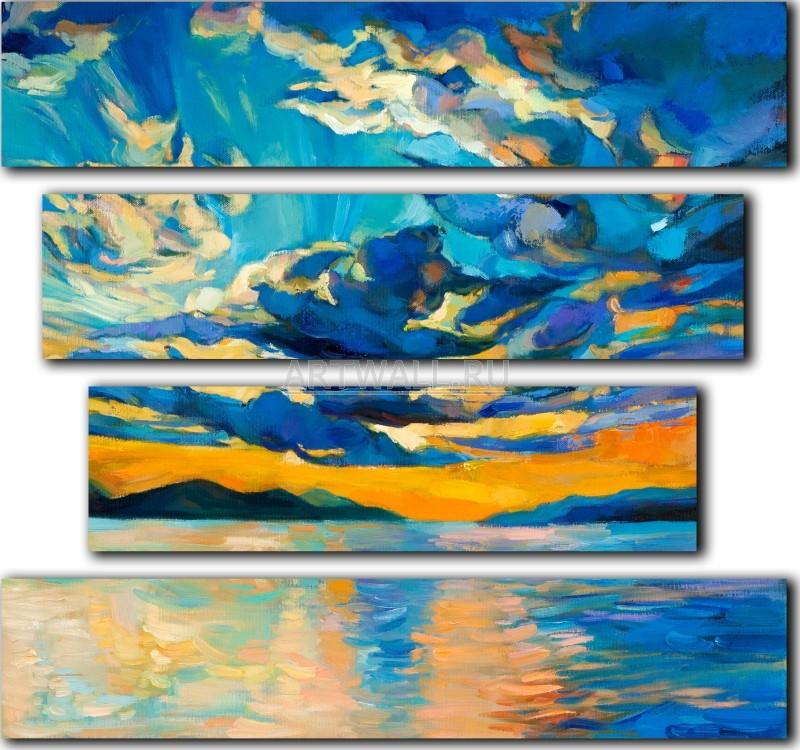 Модульная картина «Закат на море»Море<br>Модульная картина на натуральном холсте и деревянном подрамнике. Подвес в комплекте. Трехслойная надежная упаковка. Доставим в любую точку России. Вам осталось только повесить картину на стену!<br>