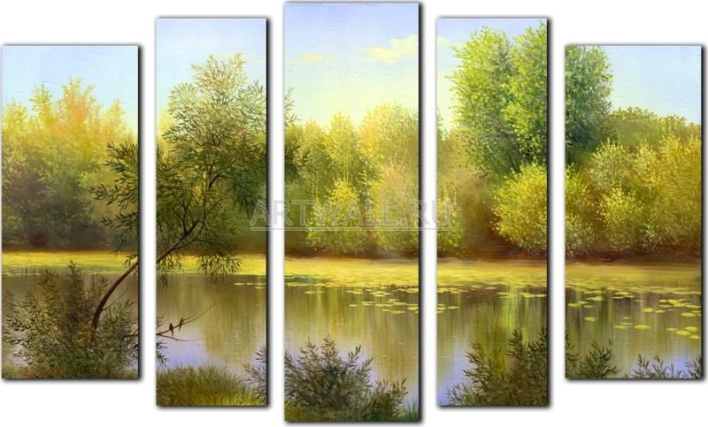 Модульная картина «Осень на другом берегу»Природа<br>Модульная картина на натуральном холсте и деревянном подрамнике. Подвес в комплекте. Трехслойная надежная упаковка. Доставим в любую точку России. Вам осталось только повесить картину на стену!<br>