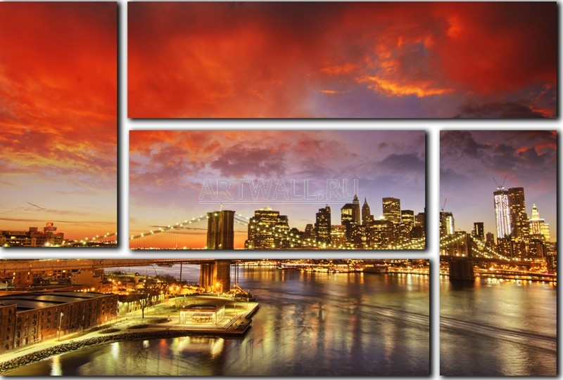 Модульная картина «Закат в Нью-Йорке»Города<br>Модульная картина на натуральном холсте и деревянном подрамнике. Подвес в комплекте. Трехслойная надежная упаковка. Доставим в любую точку России. Вам осталось только повесить картину на стену!<br>