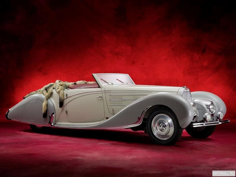 Постер Bugatti Type 57C Berline 1937, 27x20 см, на бумагеBugatti<br>Постер на холсте или бумаге. Любого нужного вам размера. В раме или без. Подвес в комплекте. Трехслойная надежная упаковка. Доставим в любую точку России. Вам осталось только повесить картину на стену!<br>