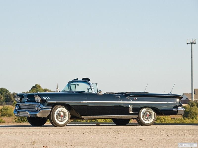 Постер Chevrolet Bel Air Impala 348 Super Turbo-Thrust Tri-Power Convertible 1958, 27x20 см, на бумагеChevrolet<br>Постер на холсте или бумаге. Любого нужного вам размера. В раме или без. Подвес в комплекте. Трехслойная надежная упаковка. Доставим в любую точку России. Вам осталось только повесить картину на стену!<br>