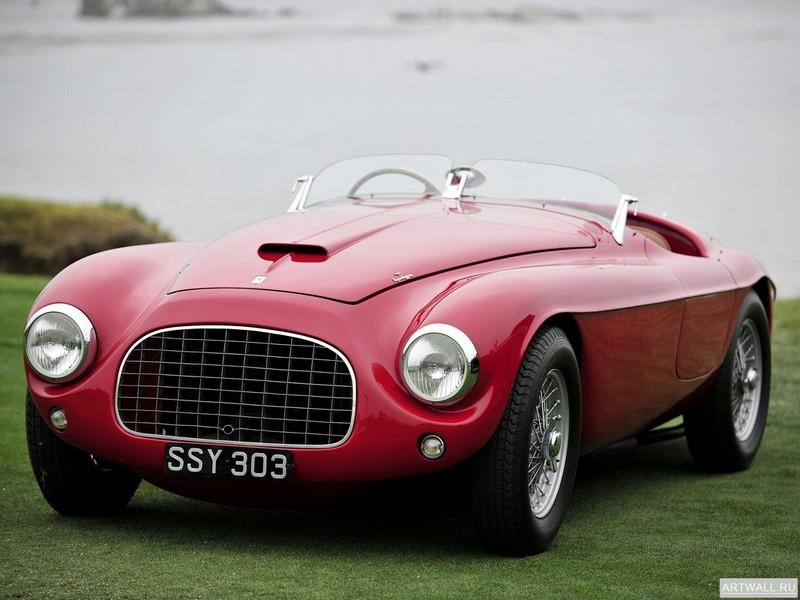 Постер Ferrari 166 MM Touring Barchetta 1948-50 дизайн Touring, 27x20 см, на бумагеFerrari<br>Постер на холсте или бумаге. Любого нужного вам размера. В раме или без. Подвес в комплекте. Трехслойная надежная упаковка. Доставим в любую точку России. Вам осталось только повесить картину на стену!<br>