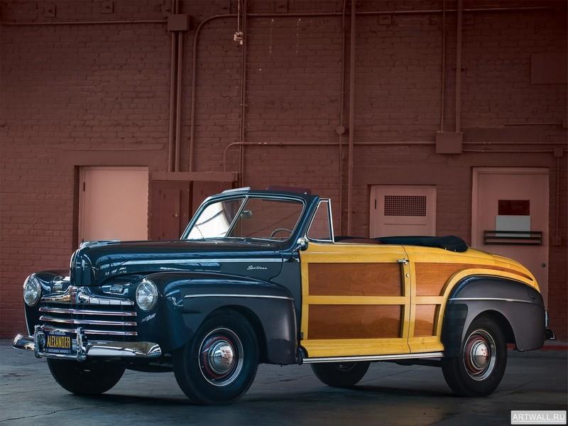 Постер Ford Super Deluxe Sportsman Convertible 1946, 27x20 см, на бумагеFord<br>Постер на холсте или бумаге. Любого нужного вам размера. В раме или без. Подвес в комплекте. Трехслойная надежная упаковка. Доставим в любую точку России. Вам осталось только повесить картину на стену!<br>