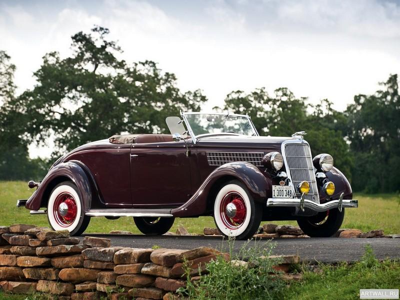 Постер Ford V8 Deluxe Roadster (48-710) 1935, 27x20 см, на бумагеFord<br>Постер на холсте или бумаге. Любого нужного вам размера. В раме или без. Подвес в комплекте. Трехслойная надежная упаковка. Доставим в любую точку России. Вам осталось только повесить картину на стену!<br>