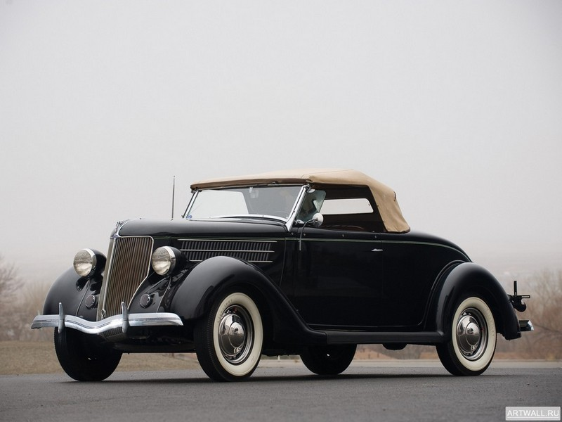 Постер Ford V8 Deluxe Roadster (68-710) 1936, 27x20 см, на бумагеFord<br>Постер на холсте или бумаге. Любого нужного вам размера. В раме или без. Подвес в комплекте. Трехслойная надежная упаковка. Доставим в любую точку России. Вам осталось только повесить картину на стену!<br>