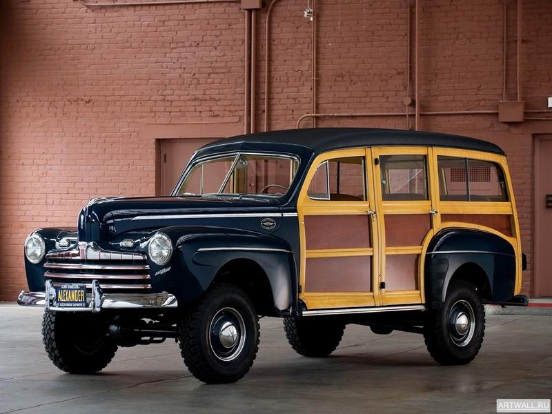 Постер Ford V8 Super Deluxe Station Wagon by Marmon-Herrington (69A-79B) 1946, 27x20 см, на бумагеFord<br>Постер на холсте или бумаге. Любого нужного вам размера. В раме или без. Подвес в комплекте. Трехслойная надежная упаковка. Доставим в любую точку России. Вам осталось только повесить картину на стену!<br>