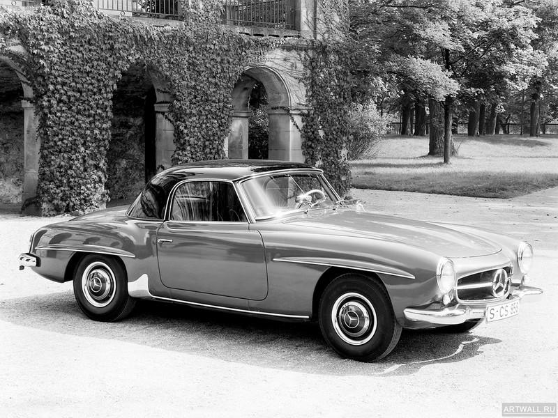 Постер Mercedes-Benz 190 SL (R121) 1955-63, 27x20 см, на бумагеMercedes-Benz<br>Постер на холсте или бумаге. Любого нужного вам размера. В раме или без. Подвес в комплекте. Трехслойная надежная упаковка. Доставим в любую точку России. Вам осталось только повесить картину на стену!<br>