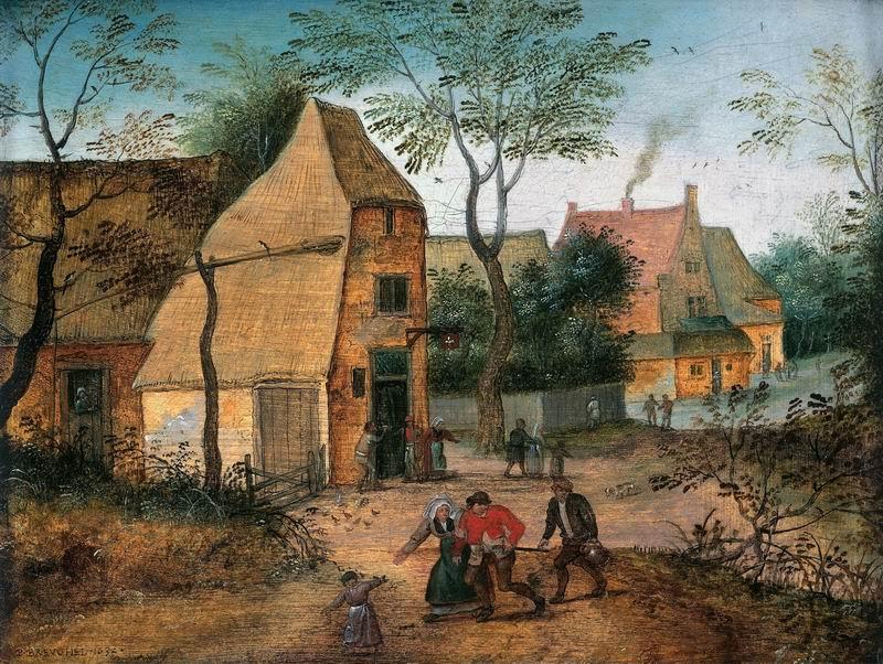 """Брейгель Питер младший, картина """"Жена уводит пьяного мужа из таверны"""" от Artwall"""