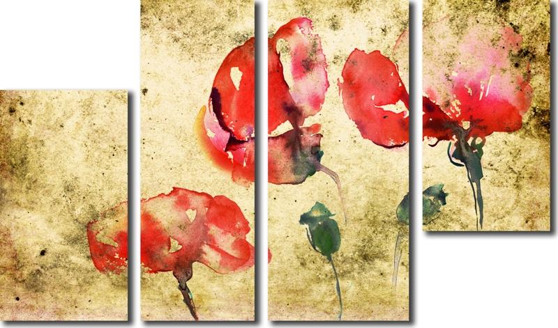 Модульная картина «Ретро маки»Цветы<br>Модульная картина на натуральном холсте и деревянном подрамнике. Подвес в комплекте. Трехслойная надежная упаковка. Доставим в любую точку России. Вам осталось только повесить картину на стену!<br>