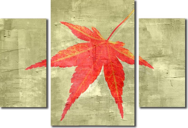 Модульная картина «Красный лист»Природа<br>Модульная картина на натуральном холсте и деревянном подрамнике. Подвес в комплекте. Трехслойная надежная упаковка. Доставим в любую точку России. Вам осталось только повесить картину на стену!<br>