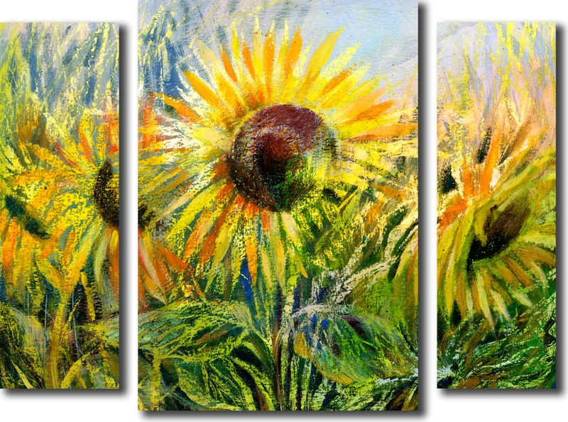 Модульная картина «Пастельные подсолнухи»Цветы<br>Модульная картина на натуральном холсте и деревянном подрамнике. Подвес в комплекте. Трехслойная надежная упаковка. Доставим в любую точку России. Вам осталось только повесить картину на стену!<br>