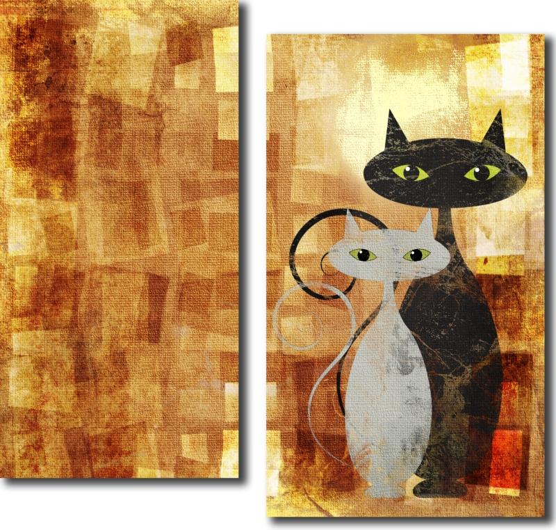 Модульная картина «Кот и кошка»Животные и птицы<br>Модульная картина на натуральном холсте и деревянном подрамнике. Подвес в комплекте. Трехслойная надежная упаковка. Доставим в любую точку России. Вам осталось только повесить картину на стену!<br>