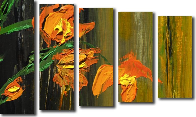 Модульная картина «Живописные тюльпаны»Цветы<br>Модульная картина на натуральном холсте и деревянном подрамнике. Подвес в комплекте. Трехслойная надежная упаковка. Доставим в любую точку России. Вам осталось только повесить картину на стену!<br>