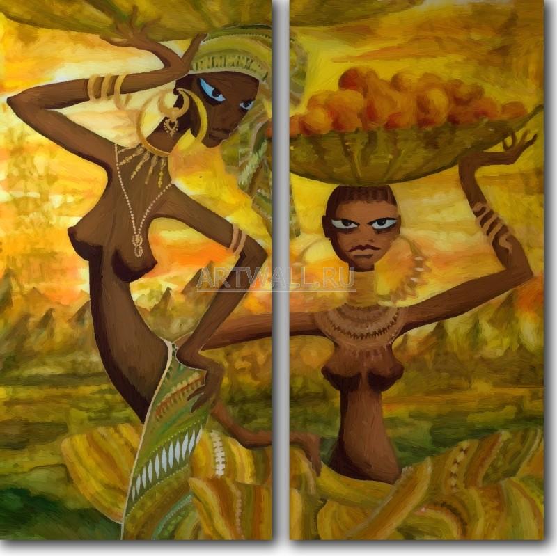 Модульная картина «Сборщицы фруктов»Африканские мотивы<br>Модульная картина на натуральном холсте и деревянном подрамнике. Подвес в комплекте. Трехслойная надежная упаковка. Доставим в любую точку России. Вам осталось только повесить картину на стену!<br>