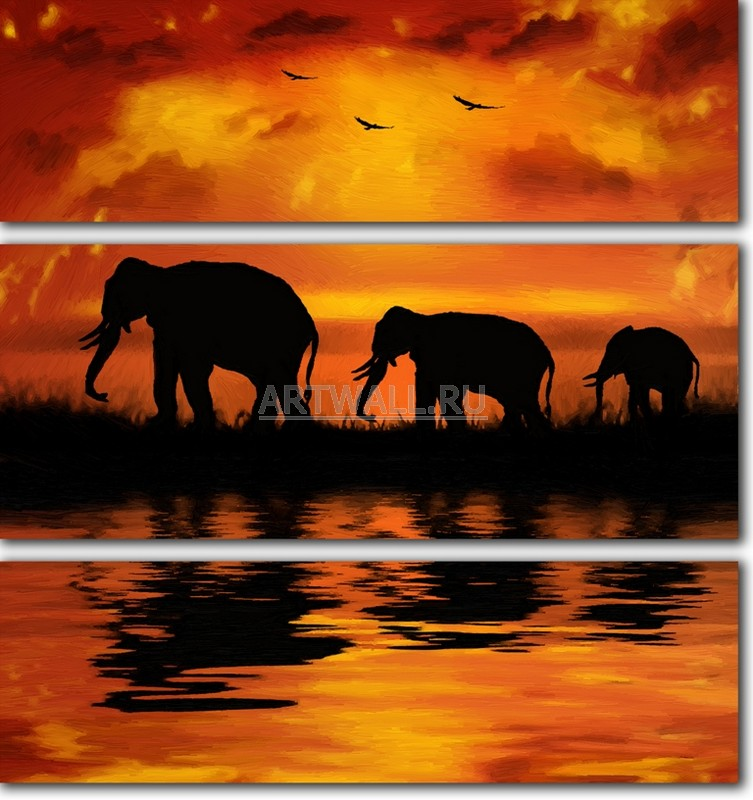 Модульная картина «Семья слонов»Африканские мотивы<br>Модульная картина на натуральном холсте и деревянном подрамнике. Подвес в комплекте. Трехслойная надежная упаковка. Доставим в любую точку России. Вам осталось только повесить картину на стену!<br>