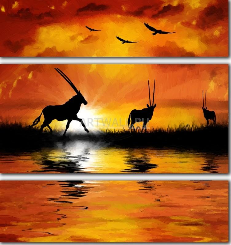 Модульная картина «Антилопы»Африканские мотивы<br>Модульная картина на натуральном холсте и деревянном подрамнике. Подвес в комплекте. Трехслойная надежная упаковка. Доставим в любую точку России. Вам осталось только повесить картину на стену!<br>