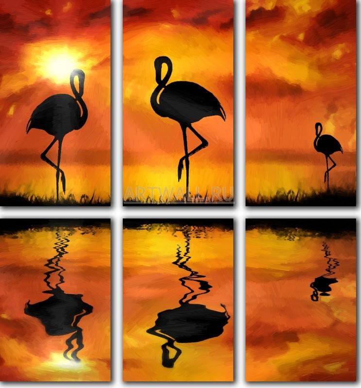 Модульная картина «Фламинго»Африканские мотивы<br>Модульная картина на натуральном холсте и деревянном подрамнике. Подвес в комплекте. Трехслойная надежная упаковка. Доставим в любую точку России. Вам осталось только повесить картину на стену!<br>