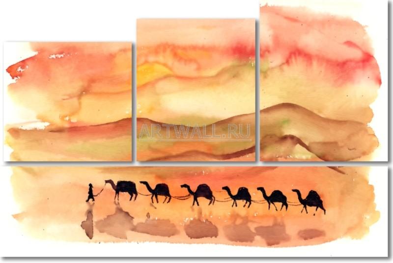 Модульная картина «Караван»Африканские мотивы<br>Модульная картина на натуральном холсте и деревянном подрамнике. Подвес в комплекте. Трехслойная надежная упаковка. Доставим в любую точку России. Вам осталось только повесить картину на стену!<br>