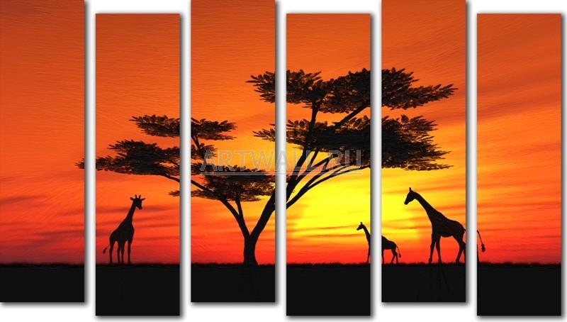 Модульная картина «Жирафы на закате»Африканские мотивы<br>Модульная картина на натуральном холсте и деревянном подрамнике. Подвес в комплекте. Трехслойная надежная упаковка. Доставим в любую точку России. Вам осталось только повесить картину на стену!<br>