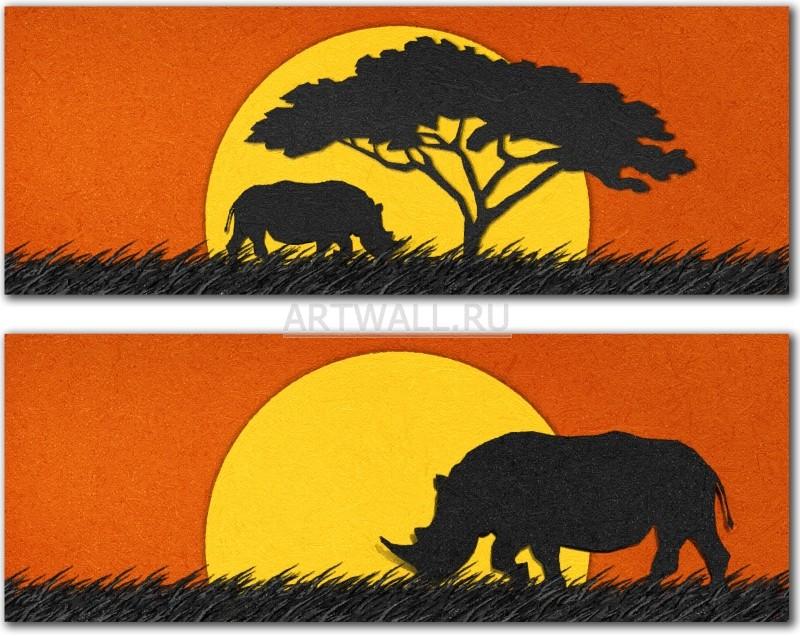 Модульная картина «Носорог»Африканские мотивы<br>Модульная картина на натуральном холсте и деревянном подрамнике. Подвес в комплекте. Трехслойная надежная упаковка. Доставим в любую точку России. Вам осталось только повесить картину на стену!<br>