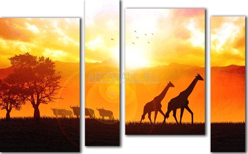 Модульная картина «На ночлег»Африканские мотивы<br>Модульная картина на натуральном холсте и деревянном подрамнике. Подвес в комплекте. Трехслойная надежная упаковка. Доставим в любую точку России. Вам осталось только повесить картину на стену!<br>