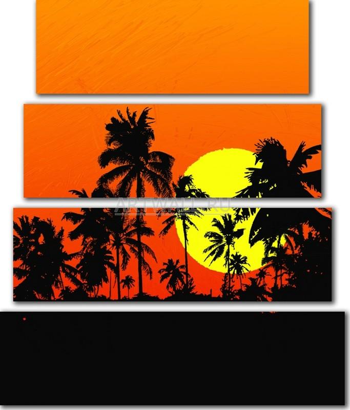 Модульная картина «Силуэты пальм»Африканские мотивы<br>Модульная картина на натуральном холсте и деревянном подрамнике. Подвес в комплекте. Трехслойная надежная упаковка. Доставим в любую точку России. Вам осталось только повесить картину на стену!<br>
