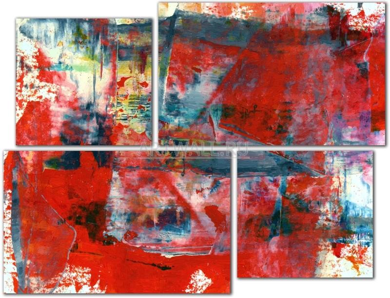 Модульная картина «4 части красного»Абстракция<br>Модульная картина на натуральном холсте и деревянном подрамнике. Подвес в комплекте. Трехслойная надежная упаковка. Доставим в любую точку России. Вам осталось только повесить картину на стену!<br>