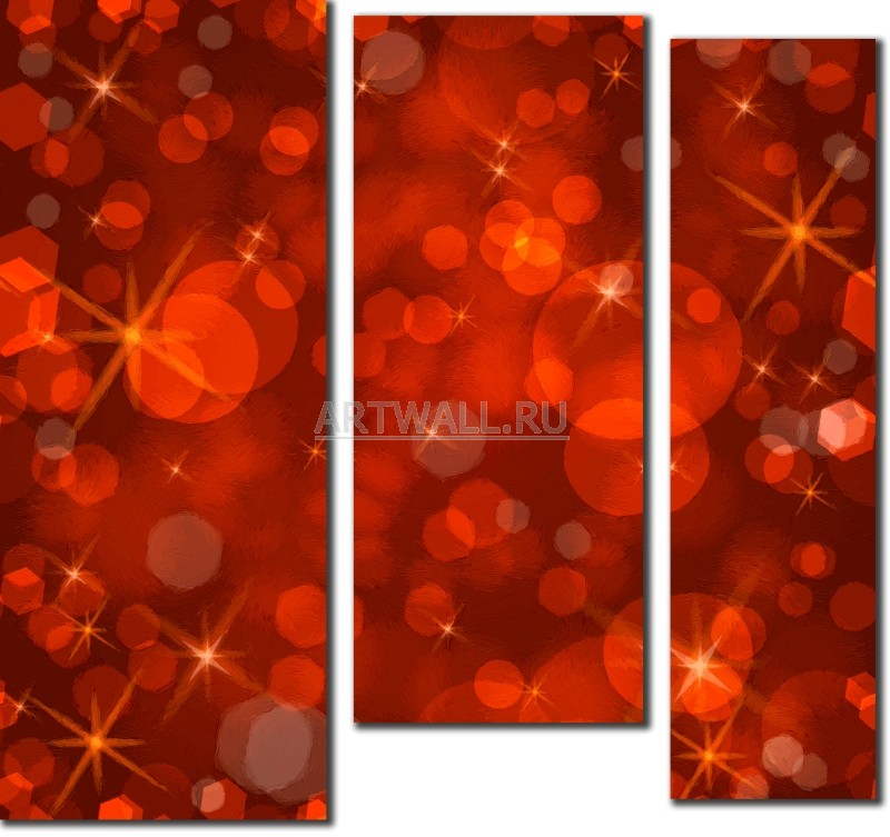 Модульная картина «Рубиновые блики»Абстракция<br>Модульная картина на натуральном холсте и деревянном подрамнике. Подвес в комплекте. Трехслойная надежная упаковка. Доставим в любую точку России. Вам осталось только повесить картину на стену!<br>