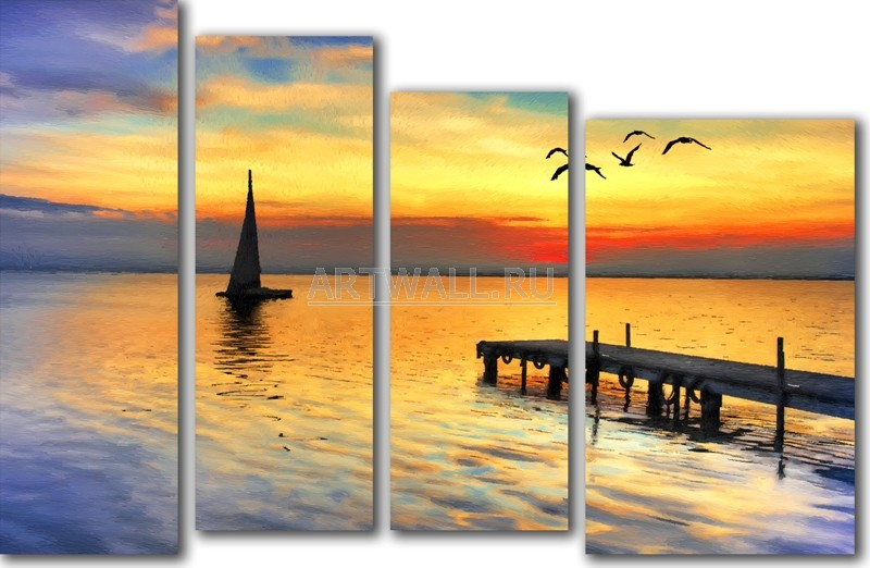 Модульная картина «Яхта на закате»Море<br>Модульная картина на натуральном холсте и деревянном подрамнике. Подвес в комплекте. Трехслойная надежная упаковка. Доставим в любую точку России. Вам осталось только повесить картину на стену!<br>