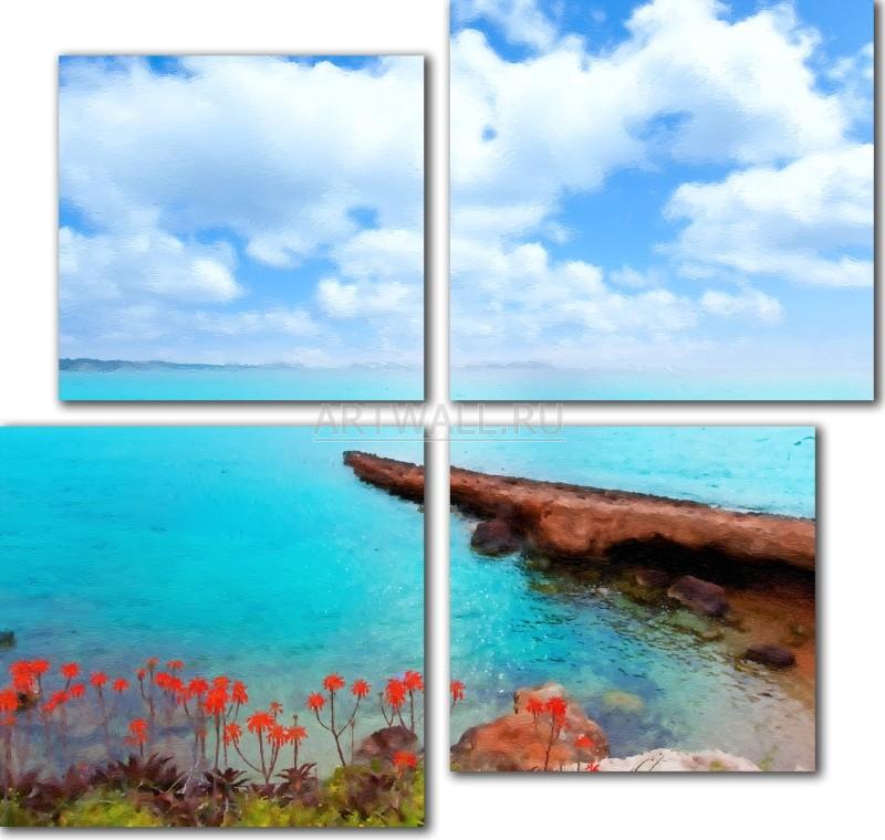 Модульная картина «Побережье с цветами»Море<br>Модульная картина на натуральном холсте и деревянном подрамнике. Подвес в комплекте. Трехслойная надежная упаковка. Доставим в любую точку России. Вам осталось только повесить картину на стену!<br>