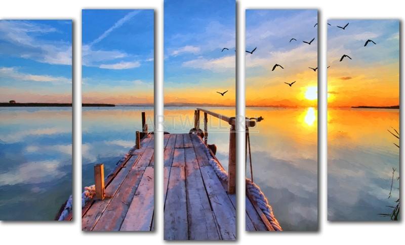 Модульная картина «Мостки»Море<br>Модульная картина на натуральном холсте и деревянном подрамнике. Подвес в комплекте. Трехслойная надежная упаковка. Доставим в любую точку России. Вам осталось только повесить картину на стену!<br>