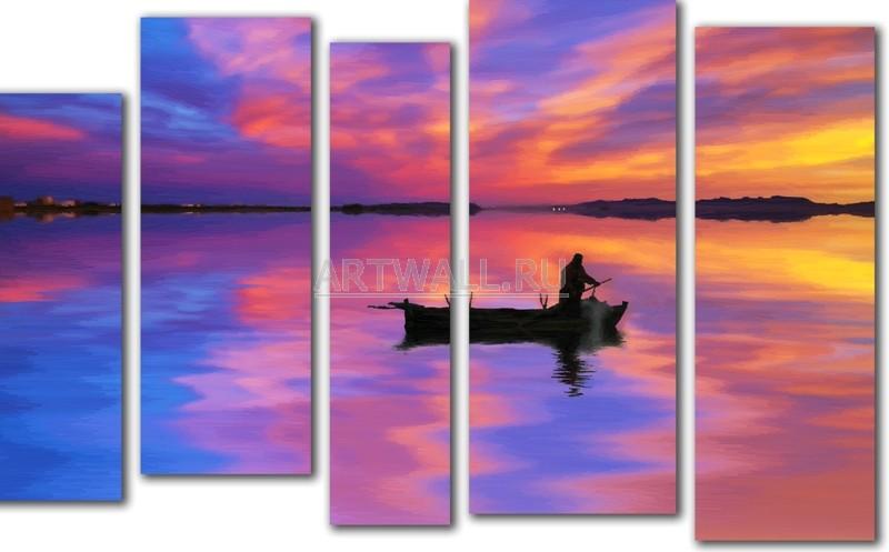 Модульная картина «Рыбак на закате»Море<br>Модульная картина на натуральном холсте и деревянном подрамнике. Подвес в комплекте. Трехслойная надежная упаковка. Доставим в любую точку России. Вам осталось только повесить картину на стену!<br>
