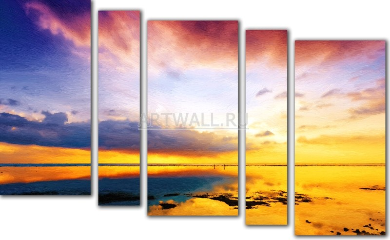 Модульная картина «Морской закат»Море<br>Модульная картина на натуральном холсте и деревянном подрамнике. Подвес в комплекте. Трехслойная надежная упаковка. Доставим в любую точку России. Вам осталось только повесить картину на стену!<br>