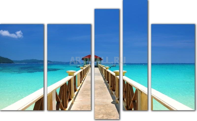 Модульная картина «Дорога к морю»Море<br>Модульная картина на натуральном холсте и деревянном подрамнике. Подвес в комплекте. Трехслойная надежная упаковка. Доставим в любую точку России. Вам осталось только повесить картину на стену!<br>