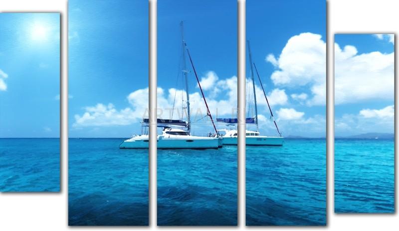 Модульная картина «Две яхты»Море<br>Модульная картина на натуральном холсте и деревянном подрамнике. Подвес в комплекте. Трехслойная надежная упаковка. Доставим в любую точку России. Вам осталось только повесить картину на стену!<br>