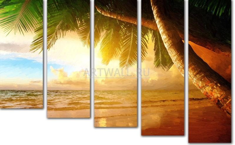 Модульная картина «Райский уголок», 81x50 см, модульная картинаМоре<br>Модульная картина на натуральном холсте и деревянном подрамнике. Подвес в комплекте. Трехслойная надежная упаковка. Доставим в любую точку России. Вам осталось только повесить картину на стену!<br>