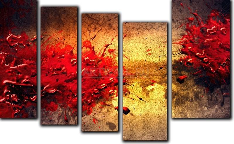Модульная картина «Всплески красок»Абстракция<br>Модульная картина на натуральном холсте и деревянном подрамнике. Подвес в комплекте. Трехслойная надежная упаковка. Доставим в любую точку России. Вам осталось только повесить картину на стену!<br>
