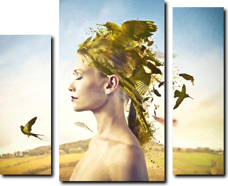 Модульная картина «Мысли женщин»Абстракция<br>Модульная картина на натуральном холсте и деревянном подрамнике. Подвес в комплекте. Трехслойная надежная упаковка. Доставим в любую точку России. Вам осталось только повесить картину на стену!<br>