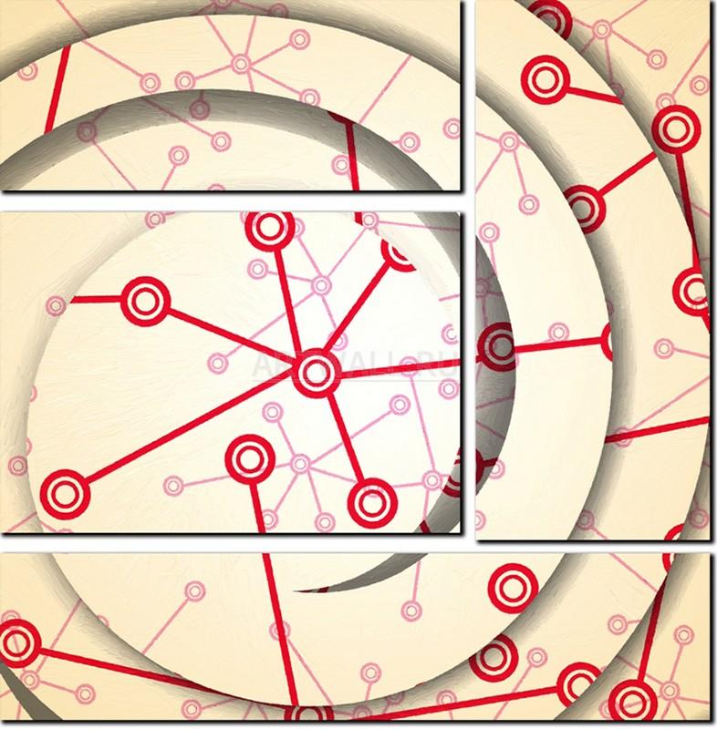 Модульная картина «Математические связи»Абстракция<br>Модульная картина на натуральном холсте и деревянном подрамнике. Подвес в комплекте. Трехслойная надежная упаковка. Доставим в любую точку России. Вам осталось только повесить картину на стену!<br>