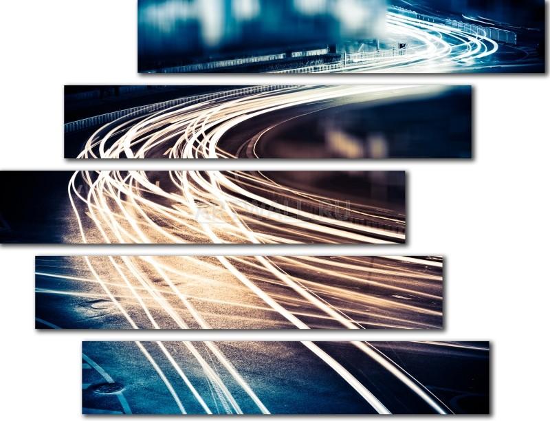 Модульная картина «Огни потока», 65x50 см, модульная картинаГорода<br>Модульная картина на натуральном холсте и деревянном подрамнике. Подвес в комплекте. Трехслойная надежная упаковка. Доставим в любую точку России. Вам осталось только повесить картину на стену!<br>