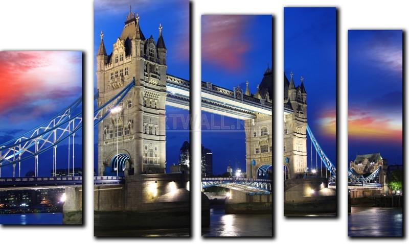 Модульная картина «Тауэрский мост»Города<br>Модульная картина на натуральном холсте и деревянном подрамнике. Подвес в комплекте. Трехслойная надежная упаковка. Доставим в любую точку России. Вам осталось только повесить картину на стену!<br>