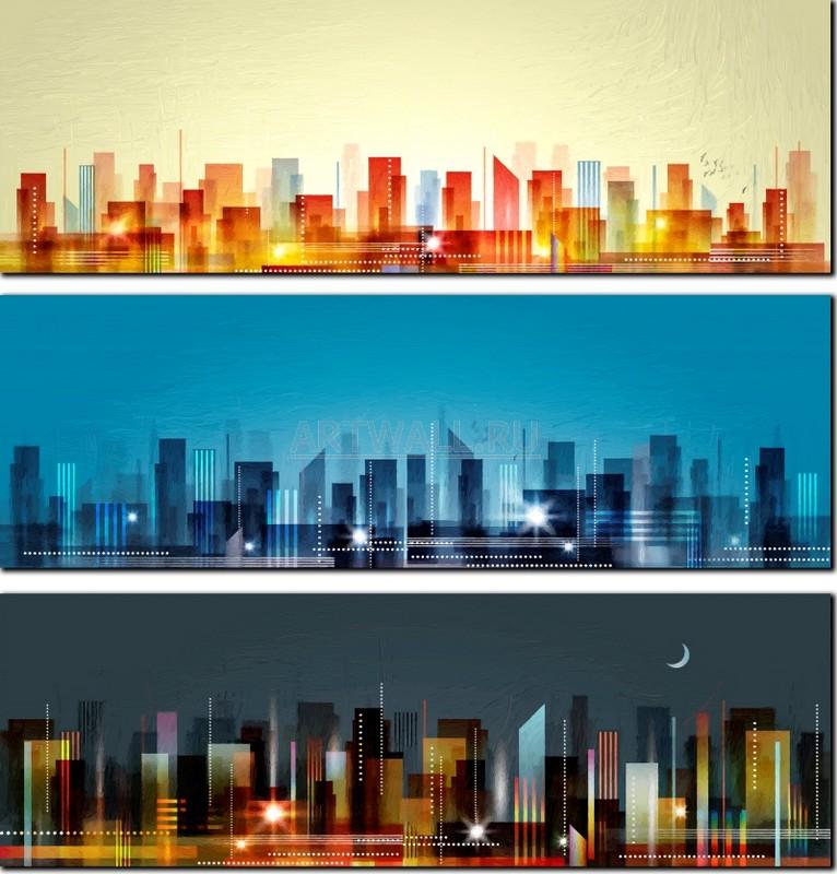 Модульная картина «Город. Время суток»Города<br>Модульная картина на натуральном холсте и деревянном подрамнике. Подвес в комплекте. Трехслойная надежная упаковка. Доставим в любую точку России. Вам осталось только повесить картину на стену!<br>