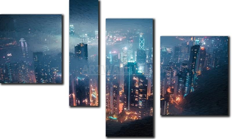 Модульная картина «Сердце большого города»Города<br>Модульная картина на натуральном холсте и деревянном подрамнике. Подвес в комплекте. Трехслойная надежная упаковка. Доставим в любую точку России. Вам осталось только повесить картину на стену!<br>