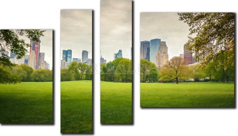 Модульная картина «Централ парк»Города<br>Модульная картина на натуральном холсте и деревянном подрамнике. Подвес в комплекте. Трехслойная надежная упаковка. Доставим в любую точку России. Вам осталось только повесить картину на стену!<br>