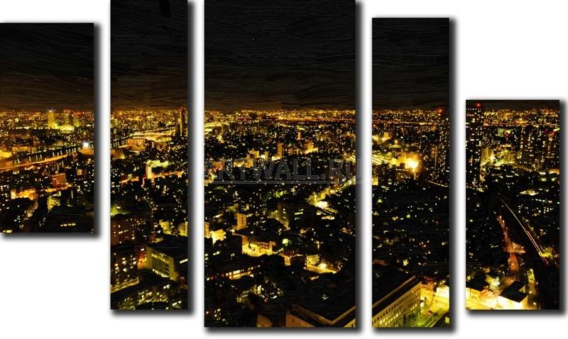 Модульная картина «Огни города»Города<br>Модульная картина на натуральном холсте и деревянном подрамнике. Подвес в комплекте. Трехслойная надежная упаковка. Доставим в любую точку России. Вам осталось только повесить картину на стену!<br>